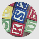 Wooden blocks with alphabets for kids round stickers
