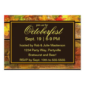 Wooden Board with Oktoberfest Beer and Leaves 13 Cm X 18 Cm Invitation Card