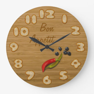 Wooden Board with Slices of Bread - Kitchen Clock