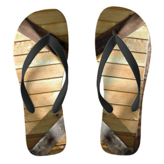 Wooden Boards Photograph On Flip flops
