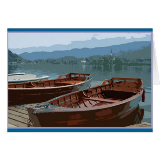 Wooden boats on Lake Bled, Slovenia Card