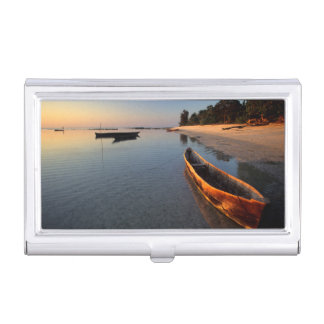 Wooden boats on Tondooni Beach Business Card Holder
