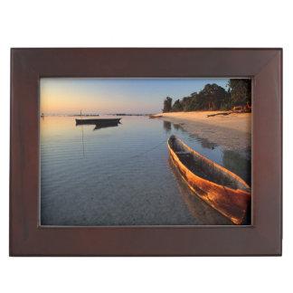 Wooden boats on Tondooni Beach Keepsake Box