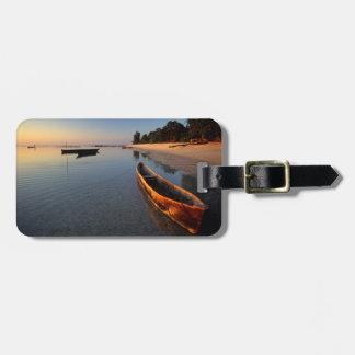 Wooden boats on Tondooni Beach Luggage Tag