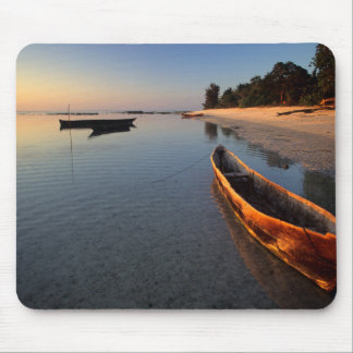 Wooden boats on Tondooni Beach Mouse Pad
