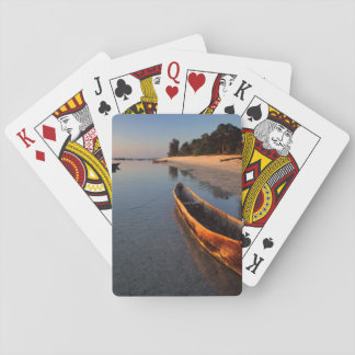 Wooden boats on Tondooni Beach Playing Cards