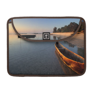 Wooden boats on Tondooni Beach Sleeve For MacBook Pro