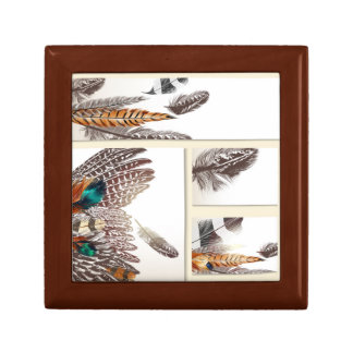 Wooden box with feathers small square gift box