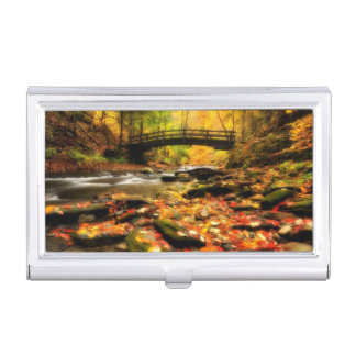Wooden Bridge and Creek in Fall Business Card Holder