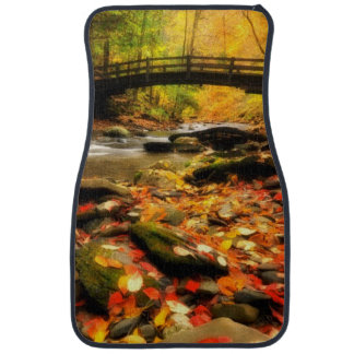 Wooden Bridge and Creek in Fall Car Mat