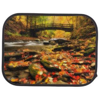 Wooden Bridge and Creek in Fall Car Mat
