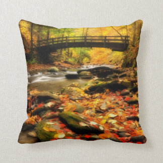 Wooden Bridge and Creek in Fall Cushion
