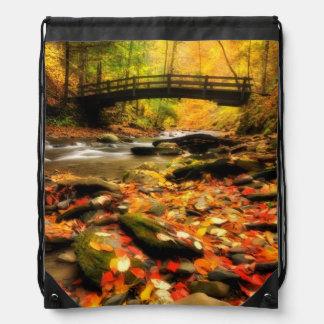 Wooden Bridge and Creek in Fall Drawstring Bag