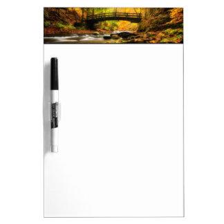 Wooden Bridge and Creek in Fall Dry Erase Board