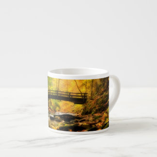 Wooden Bridge and Creek in Fall Espresso Cup