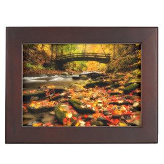 Wooden Bridge and Creek in Fall Keepsake Box
