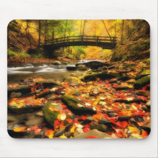 Wooden Bridge and Creek in Fall Mouse Pad