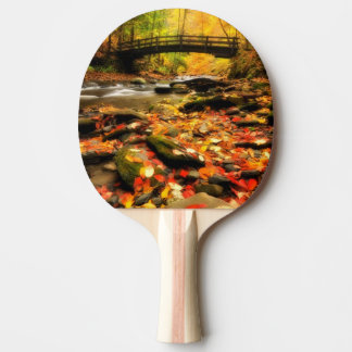 Wooden Bridge and Creek in Fall Ping Pong Paddle