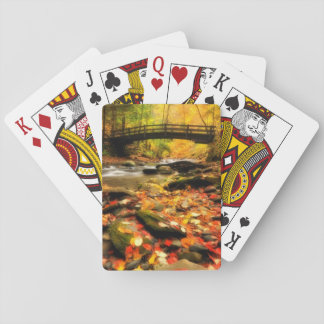 Wooden Bridge and Creek in Fall Playing Cards