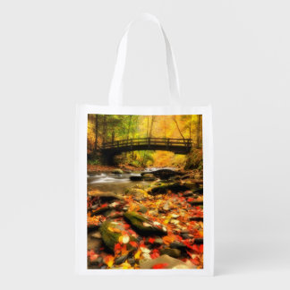 Wooden Bridge and Creek in Fall Reusable Grocery Bag