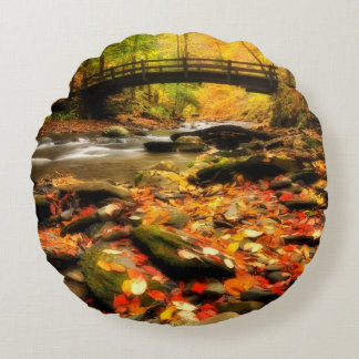 Wooden Bridge and Creek in Fall Round Cushion