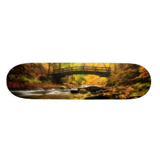 Wooden Bridge and Creek in Fall Skate Boards