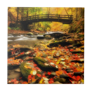 Wooden Bridge and Creek in Fall Small Square Tile