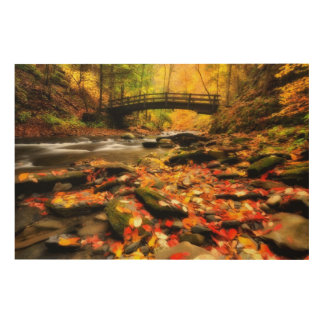 Wooden Bridge and Creek in Fall Wood Wall Art