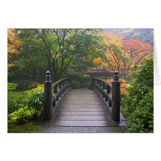 Wooden Bridge in Japanese Garden Greeting Card