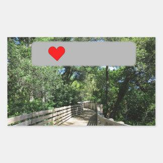 Wooden bridge on the way to Geocaching Rectangular Sticker