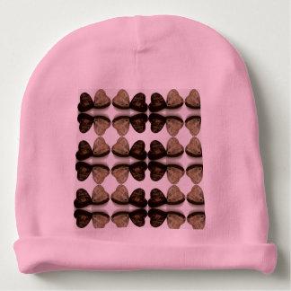 wooden brown heart pink baby beanie