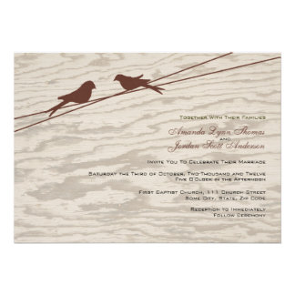Wooden Brown Love Birds on a Wire Announcements