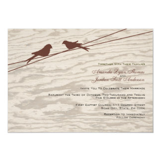 "Wooden Brown Love Birds on a Wire 5"" X 7"" Invitation Card"