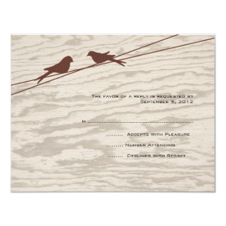 "Wooden Brown Love Birds on a Wire RSVP 4.25"" X 5.5"" Invitation Card"
