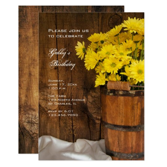 Wooden Bucket and Daisies Country Birthday Party Card