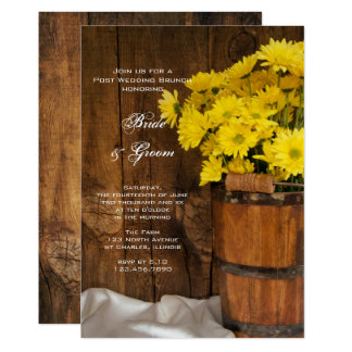 Wooden Bucket Daisies Country Post Wedding Brunch Card