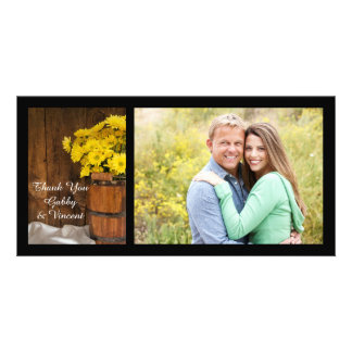 Wooden Bucket Daisies Country Wedding Thank You Photo Greeting Card