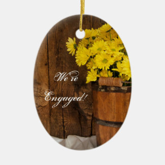 Wooden Bucket Yellow Daisies Country Engagement Christmas Ornament