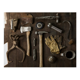 wooden carpentry handyman tools collection postcard