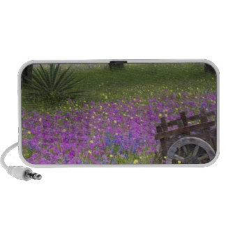 Wooden Cart in field of Phlox, Blue Bonnets with Notebook Speakers