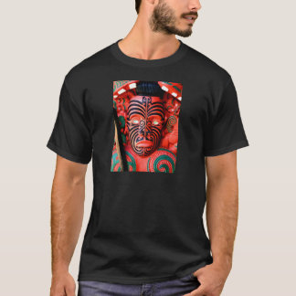 Wooden Carving of a Maori Warrior, New Zealand T-Shirt