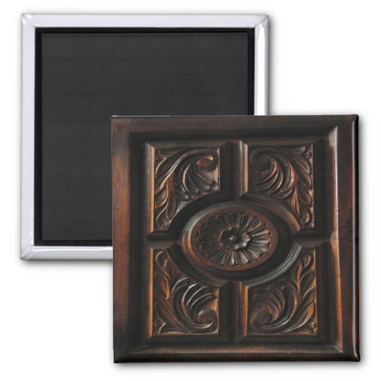 Wooden Carving Square Magnet