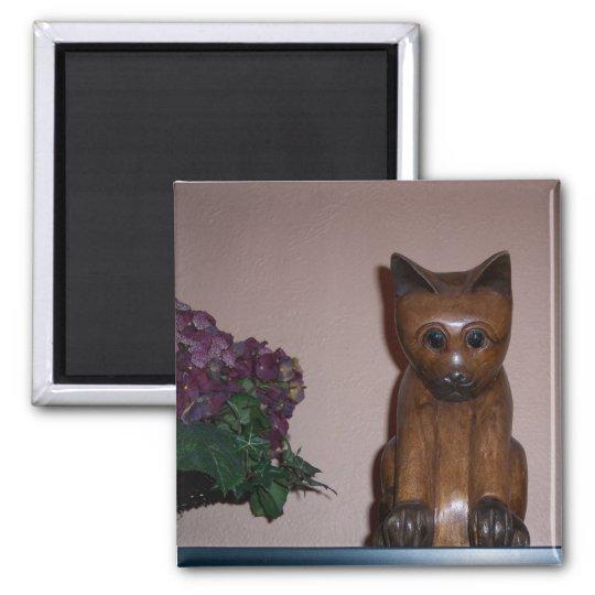 Wooden Cat Square Magnet