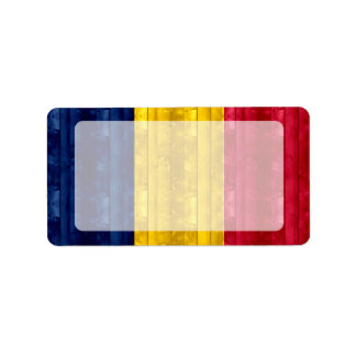 Wooden Chadian Flag Address Label