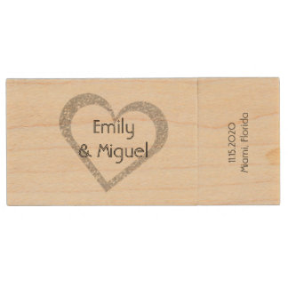 Wooden Chalkboard Heart Wedding USB Photo Storage Wood USB Flash Drive