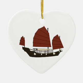 Wooden Chinese Junk Ship Christmas Ornament