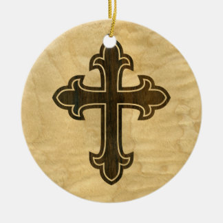Wooden Christian Cross Fleury Rosewood on Maple Christmas Ornament