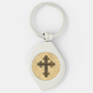 Wooden Christian Cross Fleury Rosewood on Maple Key Ring