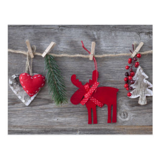 Wooden Christmas Deer And Decoration On Wood Postcard