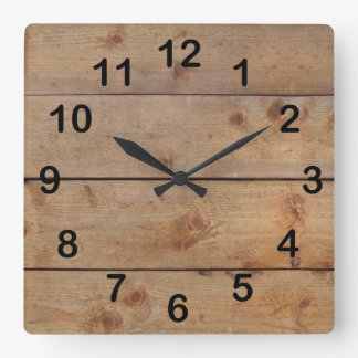 """Wooden Clock"" Square Wall Clock"